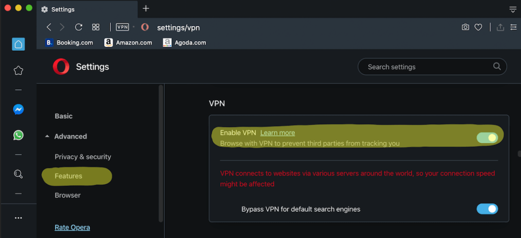 how to enable VPN on Opera web browser