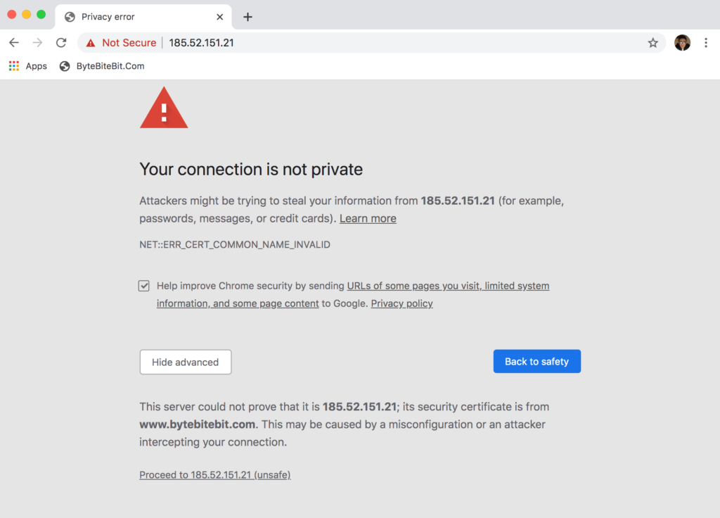 Bypass Your Connection Is Not Private Error In Google Chrome