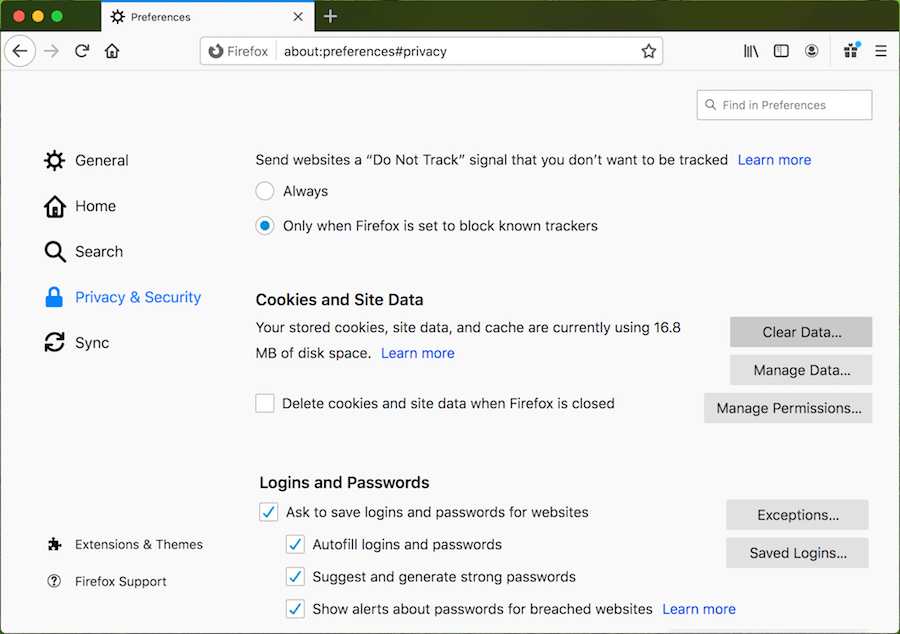 How to clear user data in Mozilla Firefox