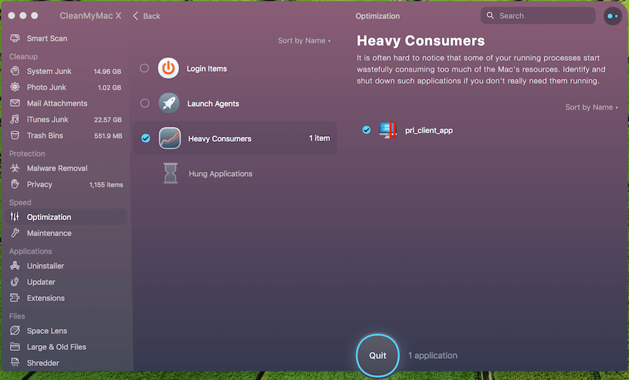 CleanMyMac X - Mac Heavy Consume Apps