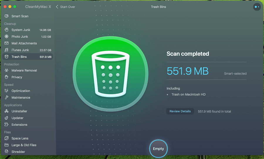 CleanMyMac X - Trash Bin Cleaner