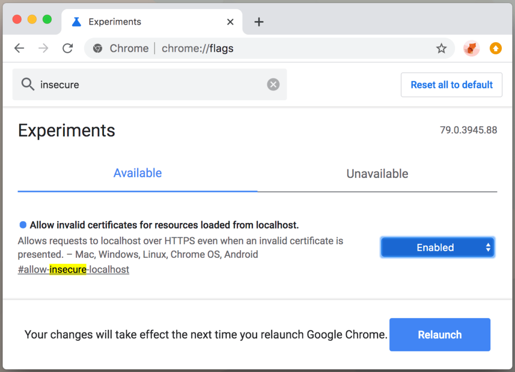 How to turn off invalid SSL warning in Google Chrome