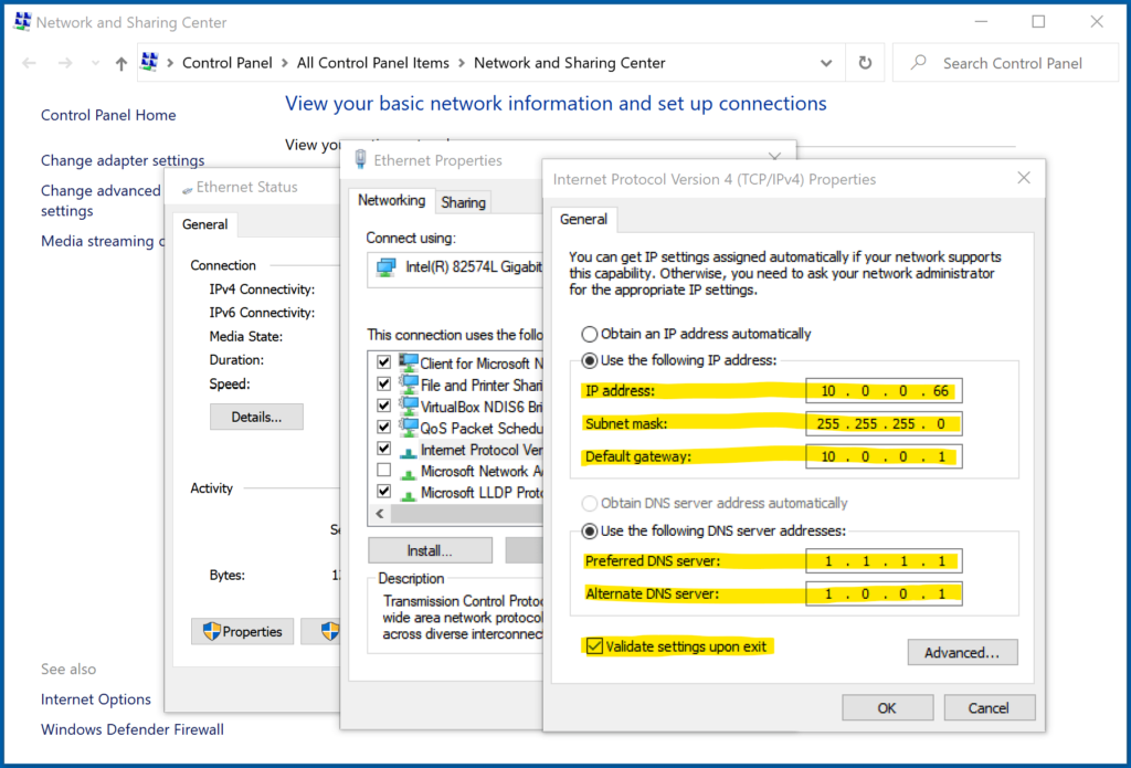 How to set a static IP address in Windows