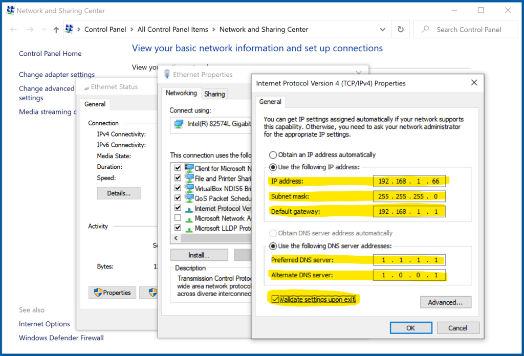Set a static IP address in Ethernet network adapter in Windows