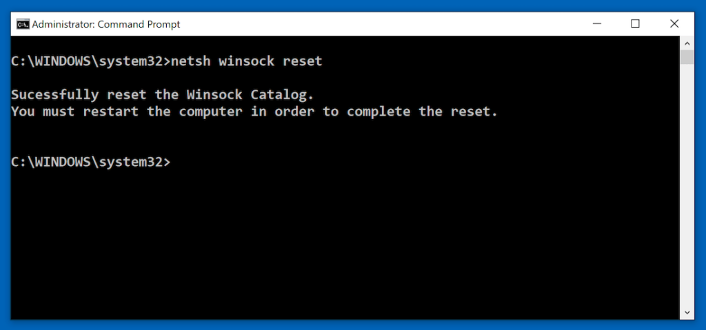 netsh winsock reset command to reset winsock settings
