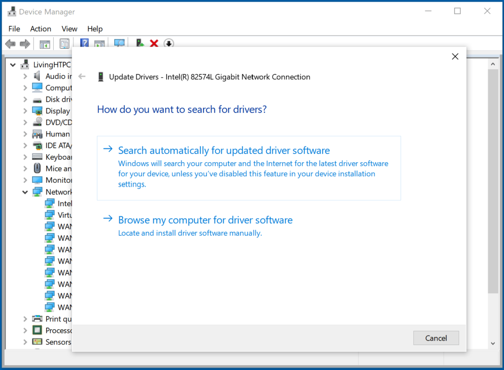 Update driver for your network adapter in Windows