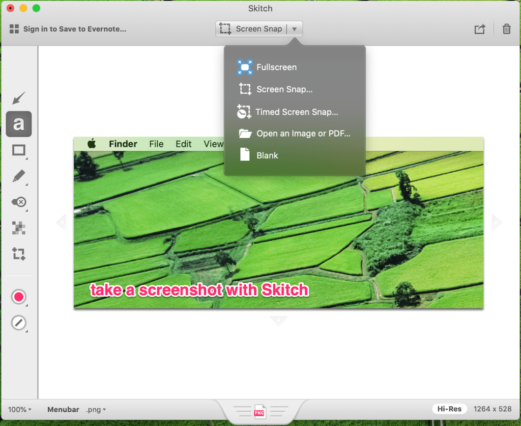 use skitch to take a screenshot on Mac