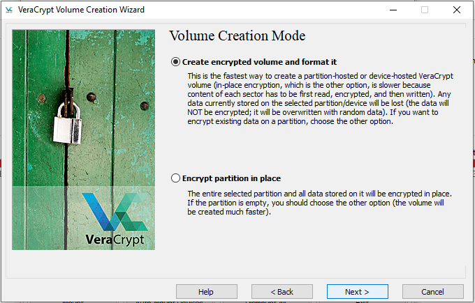 create and format - veracrypt