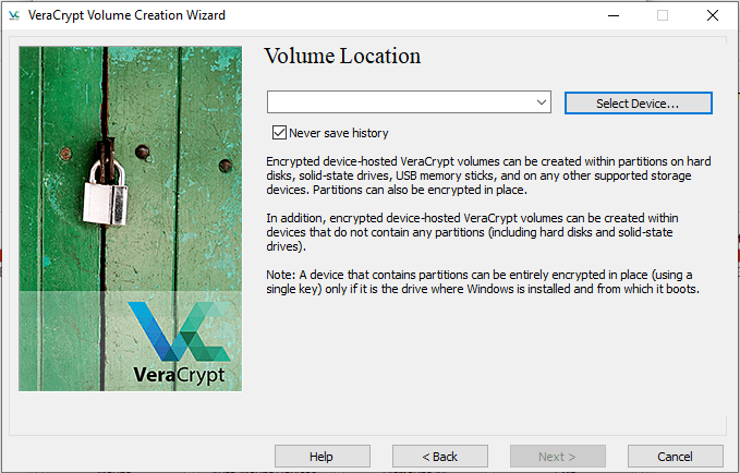 select USB flash drive to encrypt with VeraCrypt